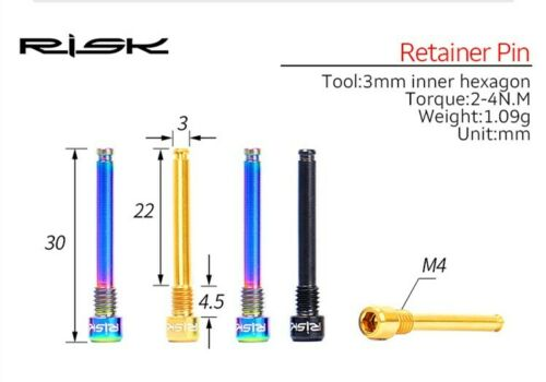 RISK 2pcs M4x26mm Titanium Alloy Bolts f// Mountain Bike Oil Disc Pad MTB Bicycle