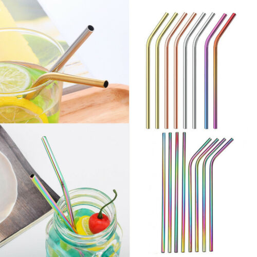 Adult Kids Stainless Steel Drinking Straw 4//8 Set For Wedding Birthday Party New