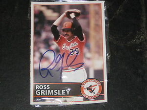 Details About Ross Grimsley Baltimore Orioles Giveaway Signed Ball And Baseball Card J3