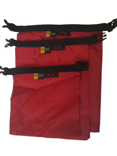 Red 3pcs waterproof dry storage sack bag Canoe Boating Floating Camping Outdoors