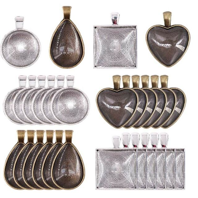 48 Pendant Trays Teardrop Bright Glass Cabochon Dome Tiles Diy Jewelry Making WA