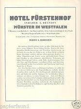 Hotel Fürstenhof Münster Reklame & Historie 1925 Brandts Prachtbau Salon Garage