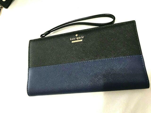Kate Spade Cameron St Eliza Colorblock Bifold Wristlet Wallet Ocean Blue/Black