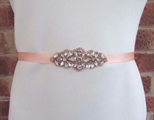 Rose Gold Silver Diamante Bridal Wedding Dress Belt Sash Rhinestone Pearl 3931