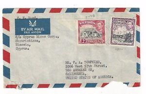 1951 Nicosia Cyprus KGVI Airmail to Los Angeles California,