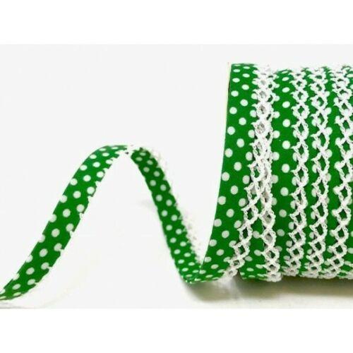 12mm Byetsa Fany Lace Edge Polka Dots Double Fold Bias Binding Trim Picot