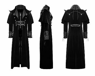 Punk Rave Mens Gothic Steampunk Long Coat Black VTG Regency Highwayman Jacket