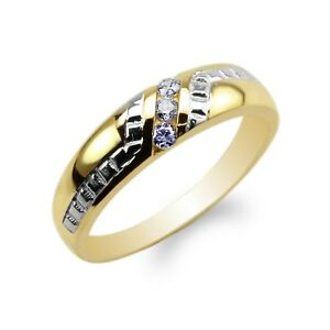 Womens-10K-14K-Yellow-Gold-Two-Tone-Stylish-Wedding-Band-Ring-Size-4-9