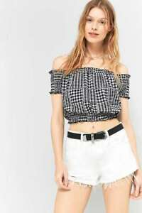 ff99d122a8d Image is loading Urban-Outfitters-Black-White-Gingham-Bardot-Top-Off-