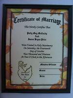 Personalized Deer Hunting Marriage Certificate Wedding Camo Camoflauge Hunter