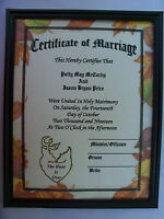 Personalized Deer Hunting Marriage Certificate Wedding Camo Camoflauge Hunter