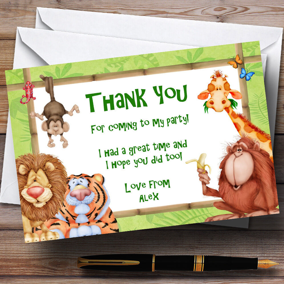 Lion, Tiger And Jungle Friends Personalised Birthday Party Thank You Cards