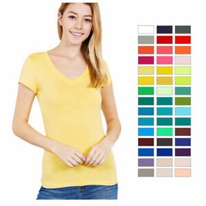 Womens-V-Neck-T-Shirt-Short-Sleeve-Solid-Fitted-Stretchy-Top-Basic-S-M-L