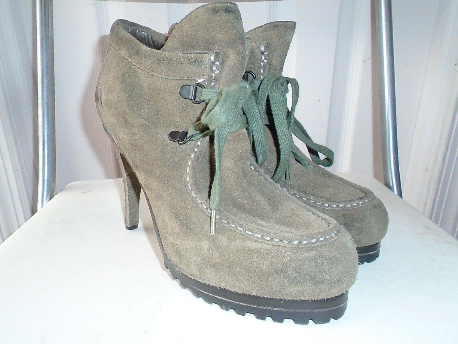 Ash Poppy femmes Olive vert Leather Suede Lace Heel Ankle bottes 38.5   US 8.5