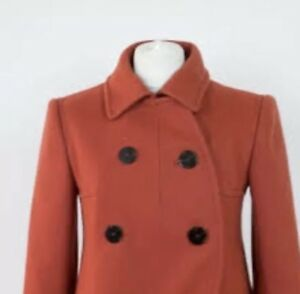 081b654bdf5 Image is loading Designer-Carven-Wool-Pea-Coat-Terracotta-Red-38-