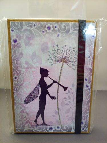 Details about  /Hand Decorated Fairy Pixie Themed glittered A6 Lined Notebook elastic closure
