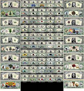 LOT-X50-BILLETS-DOLLAR-Les-50-ETATS-AMERICAINS-COLLECTION-Histoire-US-USA-Unis