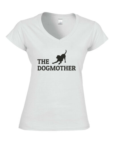 THE DOGMOTHER Fitted Ladies V-Neck T-Shirt DOG DOGS BREED PET PUPPY GIFT JOKE