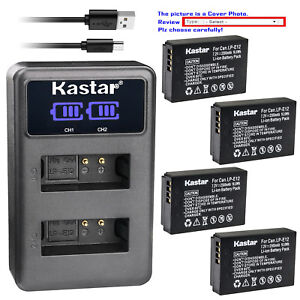 Kastar-Battery-LCD-Dual-Charger-for-Canon-LP-E12-LC-E12-amp-Canon-EOS-M50-Camera