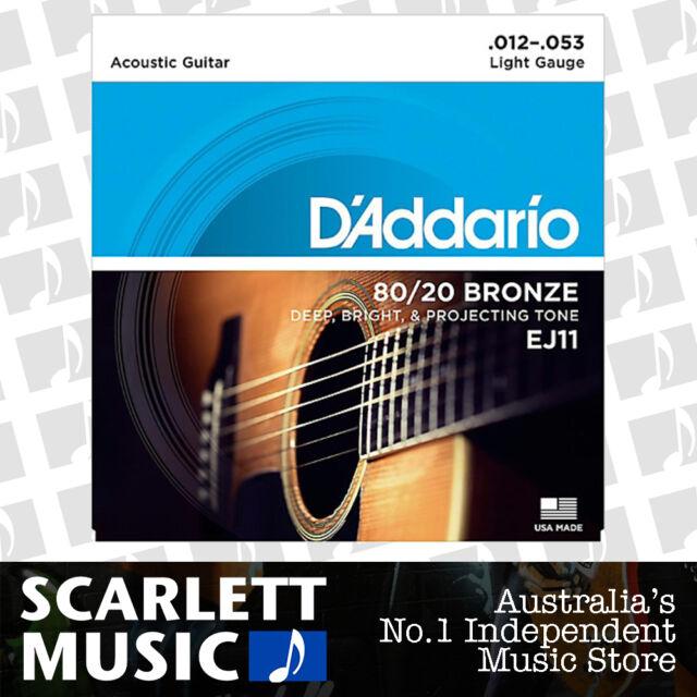 D'Addario EJ11 12-53 80/20 Light Acoustic Guitar Strings Daddario EJ-11