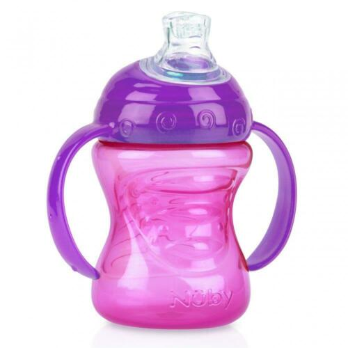 Nuby Grip N/' Ship Soft Flex Spout Cups│No Spill Sips│Trainer handles│240ml│2pk