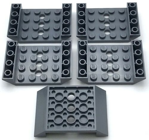 Lego 5 New Dark Bluish Gray Slope Inverted 45 6 x 4 Double with 4 x 4 Cutout