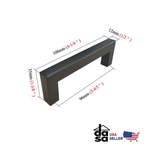 "Black Stainless Steel Square Bar Drawer Pulls Cabinet Handles Pulls  Ø 1//2/"""