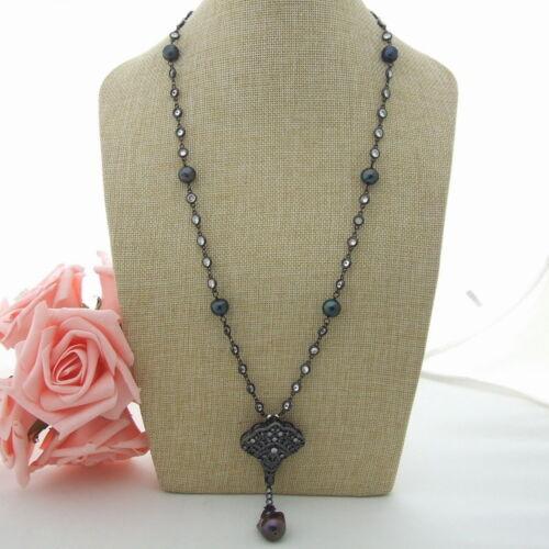 "27/"" Black Keshi Pearl Chain Necklace CZ Pearl Pendant"