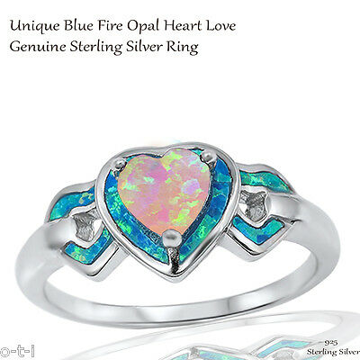 Heart Love Pink Fire Opal Wedding Engagement w/ Blue Opal Sterling Silver Ring