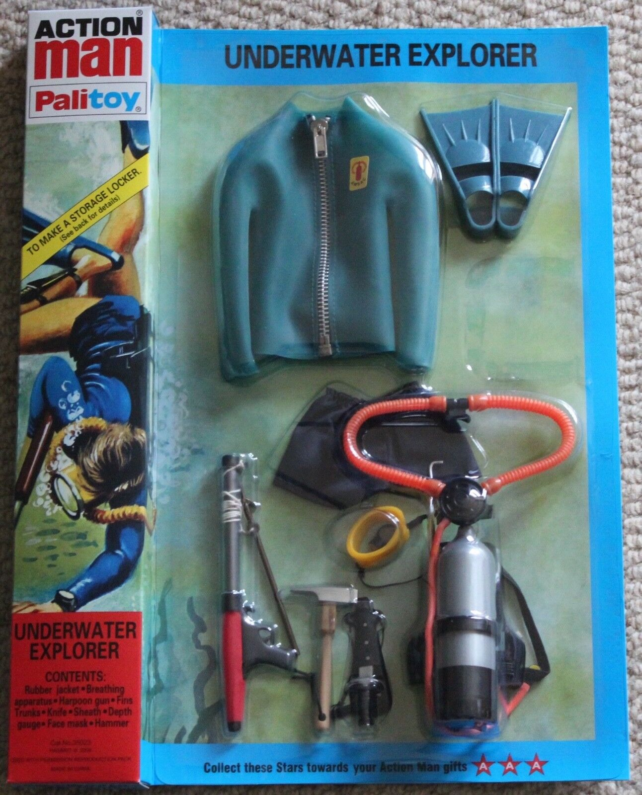 Vintage action man 40th anniversary bluee frogman diver card  boxed