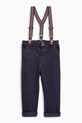 boys Red Braced Pinstripe Trousers Waistcoat And Shirt Set
