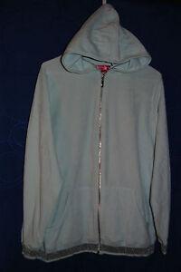 Womens-DANIELLA-SIMON-Light-Blue-Hooded-Velour-Jacket-w-Silver-Stripe-Size-L