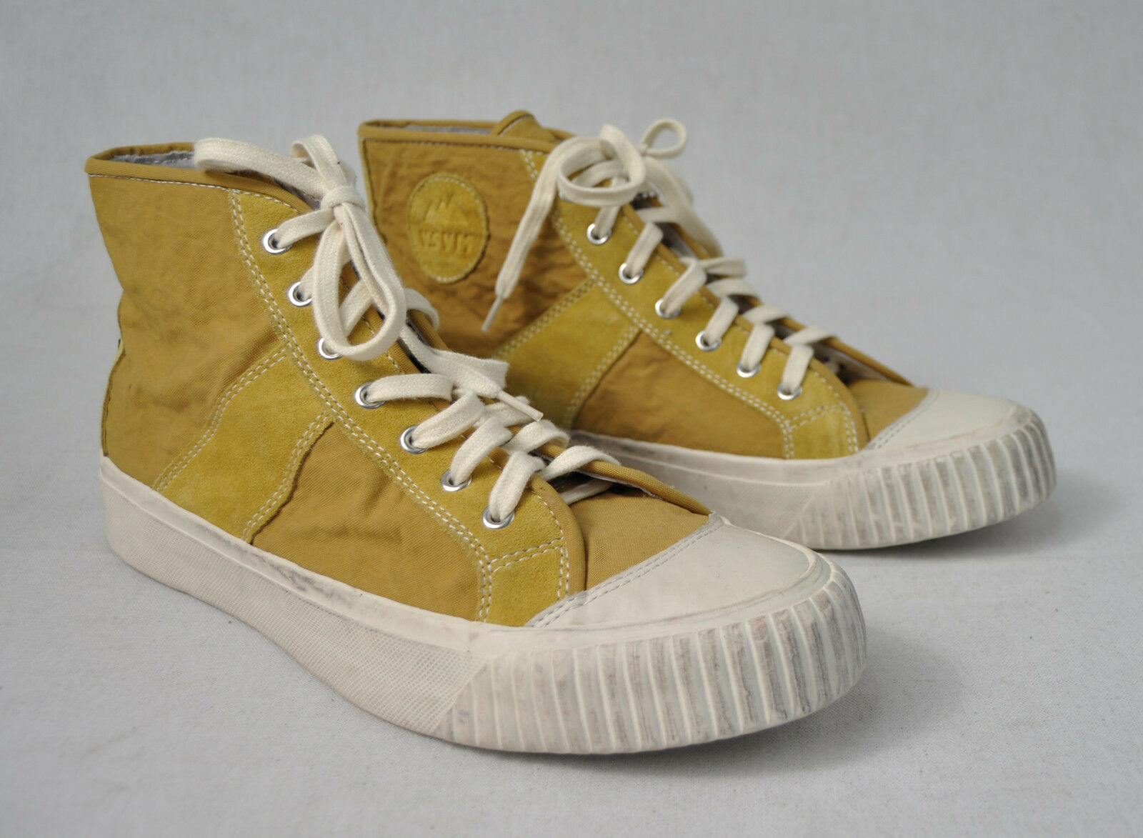 Visvim Leisee Lamina Studded oroen giallo scarpe 11 Mens New