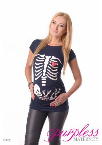 Skeleton-Adorable Slogan Cotton Printed Maternity Pregnancy Top T-shirt 2003d