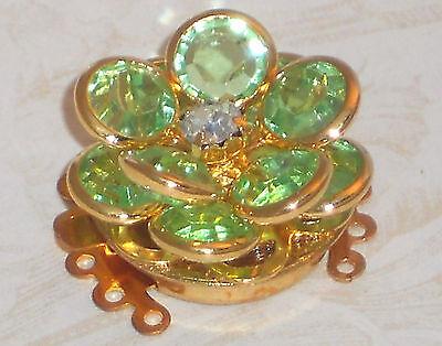 Vintage Clasp Swarovski Elements Five Strand Bracelet Necklace Peridot #1059H