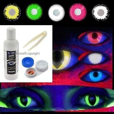 Lentille de couleur phospho UV glow lens color contact us halloween +400 modeles
