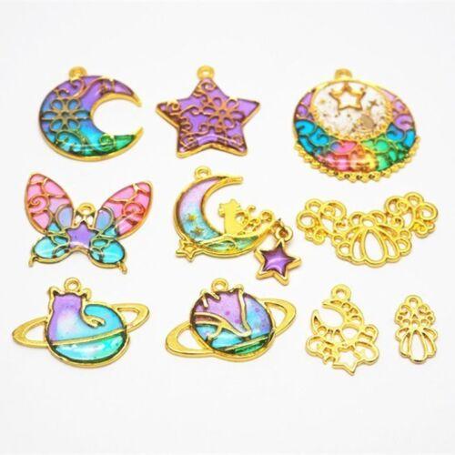 10Pcs Butterfly Star Moon Frame Pendant Open Bezel Setting UV Resin Jewelry DIY