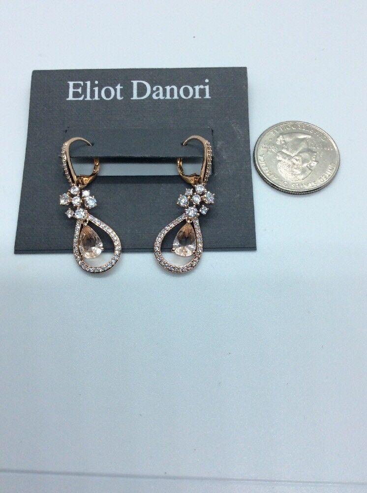 65 ELIOT DANORI pink gold CRYSTAL & PAVE TEARDROP ORBITAL DROP EARRINGS  JD2