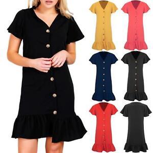 Womens-Ladies-6-Button-Frill-Hem-V-Plunge-Short-Sleeve-Stretchy-Midi-Shirt-Dress