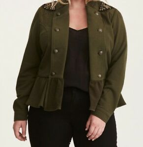 bd00e454e9a Image is loading Torrid-Olive-Green-Embellished-Knit-Peplum-Military-Jacket-