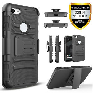 For Google Pixel 3 / 3a / XL Phone Case Belt Clip Cover+Tempered Glass Protector