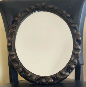 Oval Antique Vtg Molded Wood Scroll Accent Mirror Frame Solid Bathroom Vanity