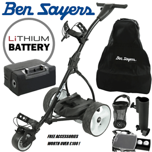 18 HOLE LITHIUM BEN SAYERS ELECTRIC TROLLEY & FREE ACCESSORIES WORTH OVER
