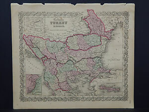 Colton's Maps, 1855, Authentic #25 Turkey in Europe