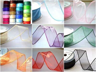 Choose Your Colour Wired Edge Organza Chiffon Ribbon 20 Meters x 50mm Wide Full Roll Emerald Green