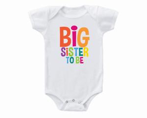Pregnancy Reveal Onesie Big Sister To Be Bodysuit Shirt