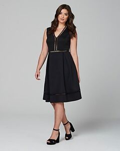 5abee76346375 Lovedrobe deep V skater dress with geo trim uk plus size 30 RRP £60 ...