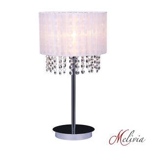 Lampe-de-table-tissu-blanc-cristal-table-de-chevet-luminaire-lampe-chrome-1x40W