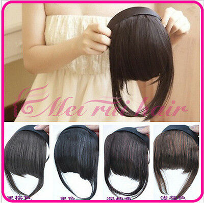 Womens Girls Pretty Clip On Front Hair Neat Bang Straight Fringe Hair Extension