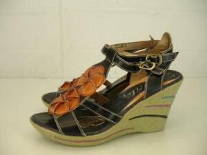 b334ed577d63f0 Corkys Elite Ocean Wedge Heels T-Strap Sandals Black Leather Flowers ...